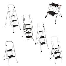More details for step ladder 2 foldable stool grip non slip tread mat handrail multiuse home diy