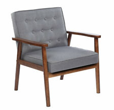 Mid-Century Retro Fabric Accent Chairs Wooden Lounge Arm Chair Living Room Gray