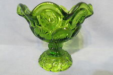 """Vintage LE Smith Glass Moon & Star Crimped Compote Bowl Green 5 1/4"""" T"""