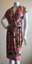 ETRO MULTICOLOR ABSTRACT PRINT RAYON KNEE LENGTH FAUX WRAP DRESS