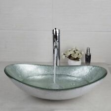 AS Bathroom Silver Oval Glass Vanity Basin Bowl Vessel Sink Mixer Chrome Faucet