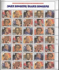 US 1994 - Scott# 2854-61 - Jazz and Blues Singers - Sheet of 35 Stamps - MNH