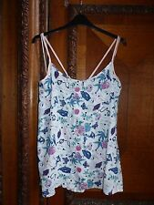 TU Size 22 Ivory, Blue & Pink Bird, Floral & Butterfly Print Vest Top