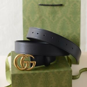 Gucci GG Antiqued Gold Buckle Women Belts Black Leather Belt 100cm length