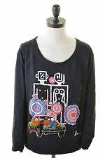 DESIGUAL Womens Top Long Sleeve Size 18 XL Black Cotton