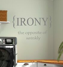 Laundry Room IRONY Vinyl Wall Decal Lettering Words Home Decor