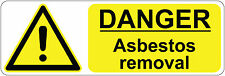 DANGER ASBESTOS REMOVAL health and safety signs stickers 300 x 100 mm