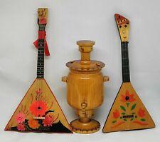 Objets decoratifs russes sovietique Miniature Samovar & 2 balalaika