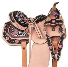 WESTERN BARREL RACING SADDLE HORSE USED PINK BLING TRAIL SHOW TACK 14 15 16