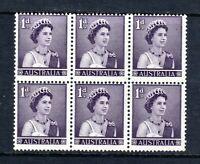 1959 ***MUH*** 1d PURPLE QUEEN ELIZABETH II - BLOCK of 6 - PRISTINE.