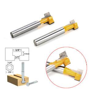 2Pcs Shank T-Slot Cutter Router Bit 3/8'' &1/2'' Hex Bolt Woodworking Tool TU