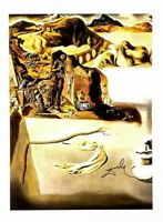 Hand signed Salvador Dali 1974 vintage 47 year old print with Gallery letter