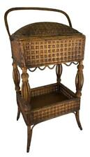 Antique Heywood Wakefield Victorian Woven Wicker Sewing Basket Stand Side Table