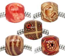 LOT de 60 GRANDES PERLES en BOIS 5 motifs 12 x 11 mm création bijoux
