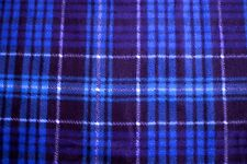 JOSLYN MULTI BLUES/TURQUOISE/NAVY PLAID FLEECE FABRIC MATERIAL 2 1/2 YDS 60X90""