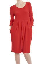 Joseph Ribkoff Solid Red 3/4 Sleeve Stretch Knit Dress 173009 US 10 UK 12 NEW