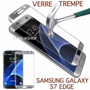 Tempered Glass Film Grey Argent Silver Integral Curved Samsung Galaxy S7 Edge