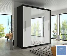 BRAND NEW SLIDING DOOR WARDROBE 6 ft 8 inch(204cm) BLACK & MIRROR TORINO