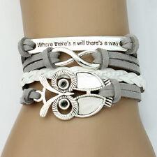Women Fashion Trendy Infinity Owl Friendship Antique Leather Cute Charm Bracelet