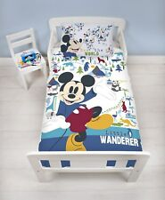 NEW MICKEY MOUSE JUNIOR TODDLER COT BED BABY BOYS BLUE DUVET QUILT COVER SET