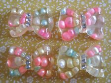 4 x Pretty Pearly Bow with Crystal Flatback Resin Embellishment Cabochon Crafts