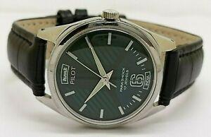 genuine hmt pilot men hand winding green dial steel 17 jewel watch run order