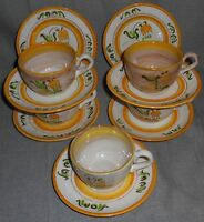 12 pc Set Stangl Terra Rose YELLOW TULIP PATTERN Cups/Saucers MADE IN USA
