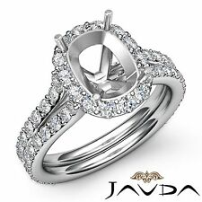 Cushion Cut Semi Mount 1.32Ct Diamond Engagement Halo Pave Ring 18k White Gold