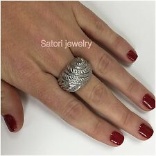 Cable Ring Gift New Right Hand Platinum Sterling Silver And Diamonds Wide Band