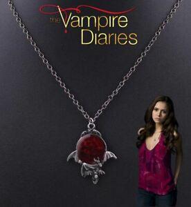 """The Vampire Diaries"" Ruby Enamel, Flying Bat, Pagan, Gothic, Pendant & Chain"