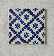 "Glossy ""Blue Heart Flower"" Mexican Talavera Ceramic Tiles 4x4"