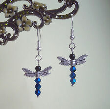Pretty Metallic Blue Crystal Dragonfly Dangly Earrings