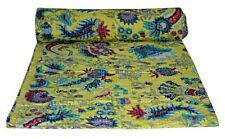 Indian Reversible Floral print Kantha Quilt Yellow Twin Blanket Throw Art