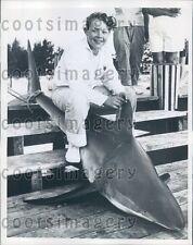 1960 Boy With 301 lb Catch of Mackerel Shark Press Photo