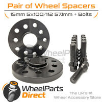 Wheel Spacers (2) & Bolts 15mm for VW Polo [Mk5] 09-18 On Aftermarket Wheels