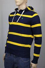 Polo Ralph Lauren Navy Blue Yellow Rugby Hoodie Sweatshirt Green Pony NWT