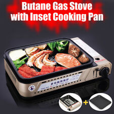 Portable Gas Butane Grill BBQ Stove Set w/ Non Stick Cooking Burner Pan Outdoor
