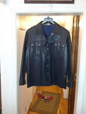 Vegan Navy blue leather jacket L vintage Crownley