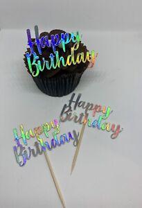 HAPPY BIRTHDAY X12 FOIL MIRROR METALLIC CUPCAKE TOPPERS PICKS PARTY CAKE TOPPER