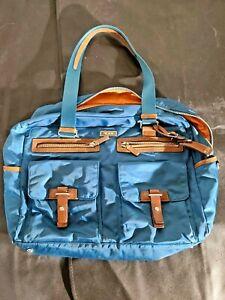TUMI Nylon Womens Bag Teal Blue Leather Medium Purse Carry Cross Body Bag Beach