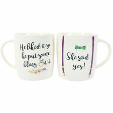 She Said Yes Set Of Two Mugs Engagement Wedding Present Ideas Keepsake Gifts