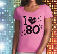 I Love 60 s 80 s 70 s 90 s deep scoup  ladies T Shirts Fancy Dress Party S - 2XL