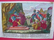 Bibel JUDITH KOMMT ZU DEM HOLOFERNES 1730 M. Engelbrecht  kol. Kupferstich