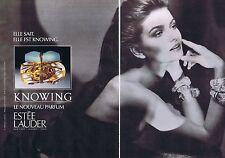 Publicité Advertising 016 1988 Estée Lauder le nouveau parfum Knowing  (2 pages)