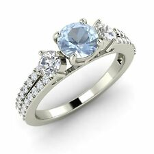 0.77 Cts Certified Aquamarine & SI Diamond Engagement Ring in 14k White Gold