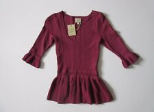NWT Torn by Ronny Kobo KIMBERLY in Mauve Pointelle Textured Knit Peplum Top S