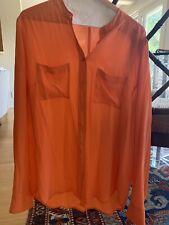 Equipment Orange Silk Blouse Size Medium