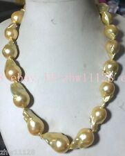 REAL HUGE GOLD SOUTH SEA GOLD BAROQUE PEARL NECKLACE 18''