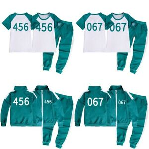 Kids Squid Game T-shirt Coat Jumper Tops+Pants Outfit Tracksuit 456/067/001 Gift