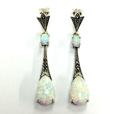 ART DECO INSPIRED WHITE GILSON OPAL MARCASITE EARRINGS 925 STERLING SILVER